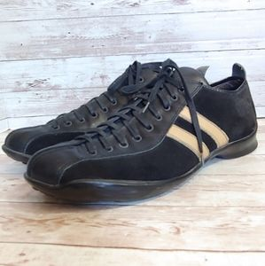 Bed:stu Men's black leather sneakers with stripes